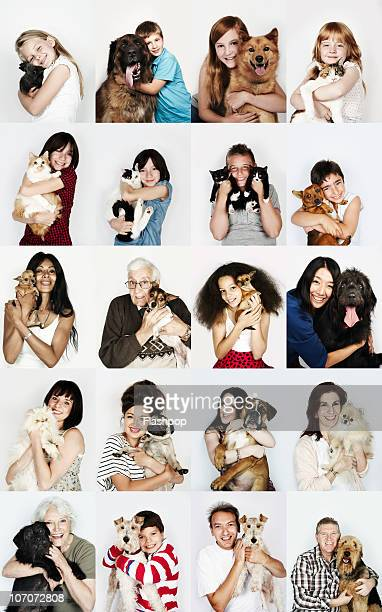 group of people hugging their pets - dog and cat stock photos and pictures