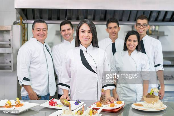 Group of people in a cooking class