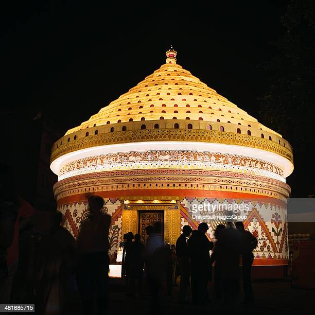 Pandal decorations stock photos and pictures getty images group of people in a durga puja pandal kolkata west bengal india thecheapjerseys Image collections