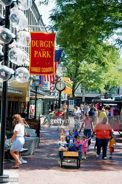 Group of people in a market, Boston, Massachusetts, USA