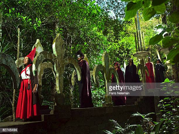 group of people in a pagan ritual - las posas stock pictures, royalty-free photos & images