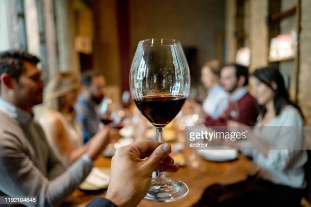 group of people in a winetasting at a cellar - wine tasting stock pictures, royalty-free photos & images