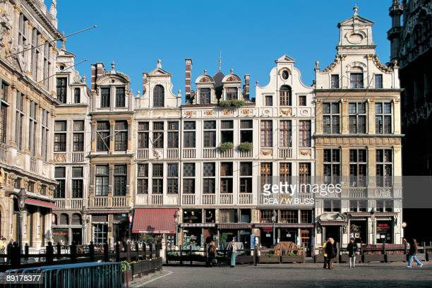 Group of people in front of buildings, Grand Place, Brussels, Belgium