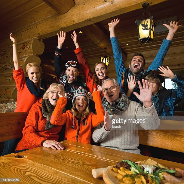 Group of people in mountain restaurant