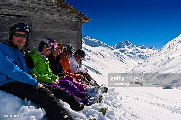group of people in powder snow - winter sport stock pictures, royalty-free photos & images