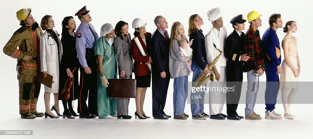 Group of people in row with different occupations : Stock Photo