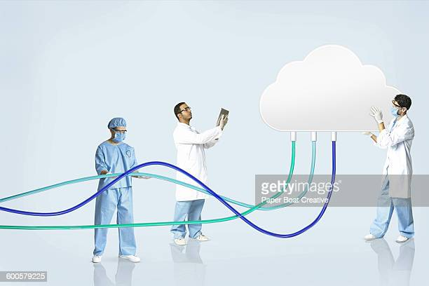 group of people in the lab testing a digital cloud