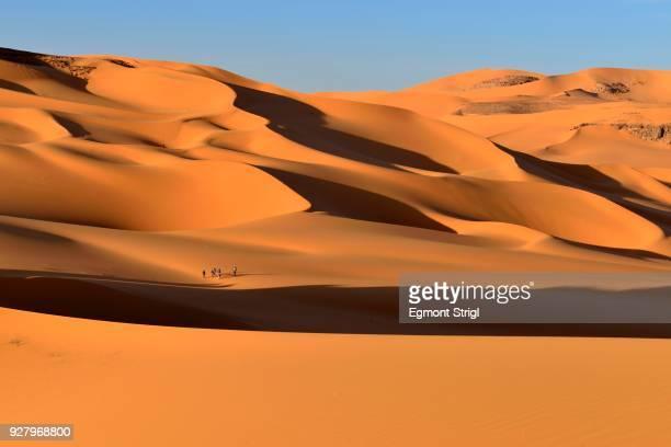 group of people in the sanddunes of moul naga, tadrart, tassili najjer national park, sahara desert, algeria - アルジェリア ストックフォトと画像
