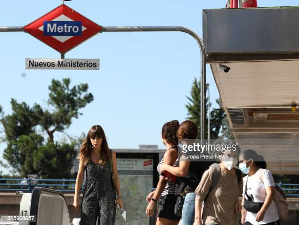Group of people in the vicinity of Nuevos Ministerios, on June 28 in Madrid, . This is the first working day without the mandatory use of masks in...