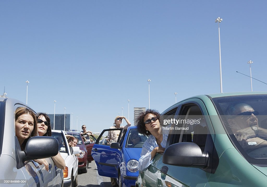 Group of people in traffic jam : Stock Photo