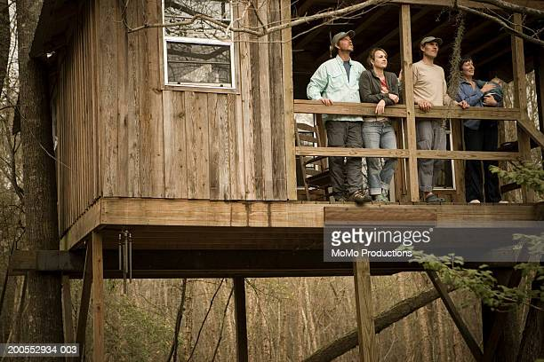 Group of people in tree house