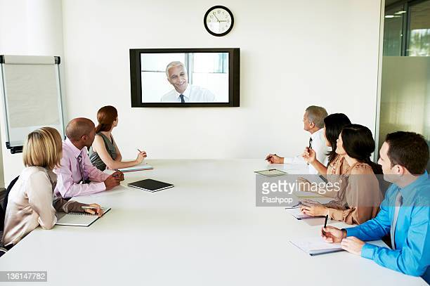 Group of people in video conference meeting