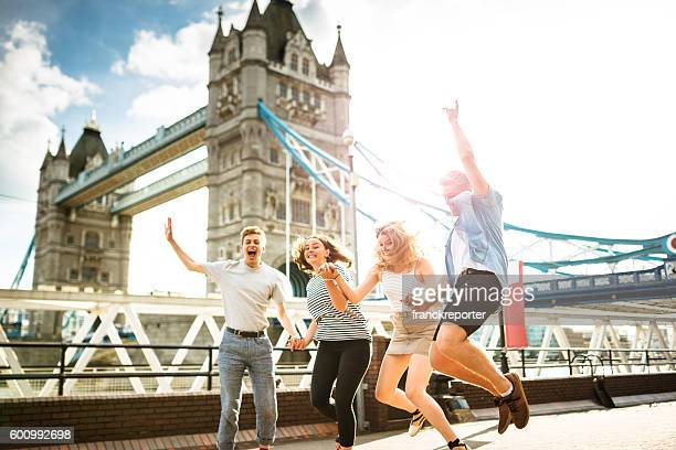 group of people jumping in london - london bridge england stock pictures, royalty-free photos & images