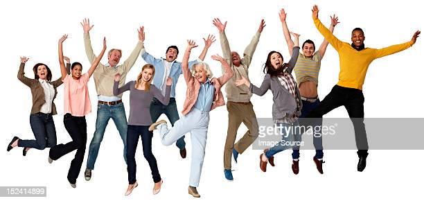 Group of people jumping, studio shot