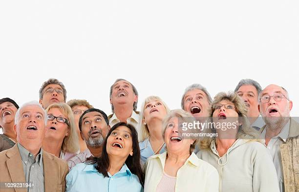 A group of people looking up