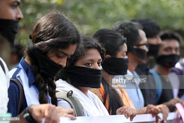 A group of people made a protest against child rape and women violance in Dhaka Bangladesh on November 03 2016 As many as 294 women and children were...