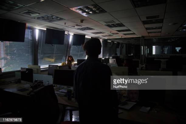 A group of people mobilize in a bus while the blackout continues on on 20 August 2019 in Caracas At least eleven states of Venezuela continue on...