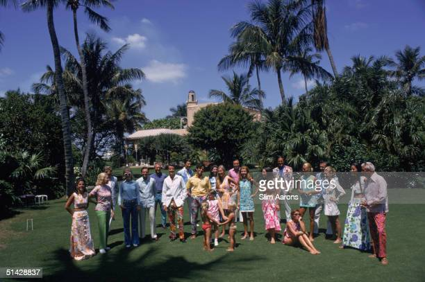 A group of people modelling fashions by Lilly Pulitzer on the croquet lawn at the Palm Beach home of Mr and Mrs Ogden Phipps Florida May 1970