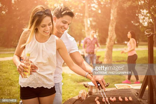 Group of people on a barbecue picnic