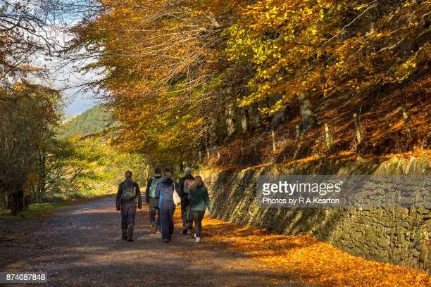 Group of people on an autumn walk in the Peak District, Derbyshire
