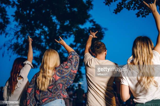 group of people on music festival - festival goer stock pictures, royalty-free photos & images