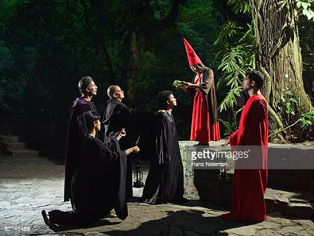 group of people performing a pagan ritual - las posas stock pictures, royalty-free photos & images