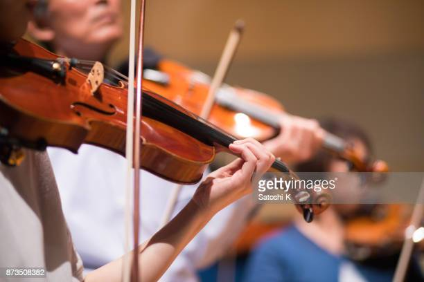 group of people playing violin at concert hall - classical musician stock pictures, royalty-free photos & images
