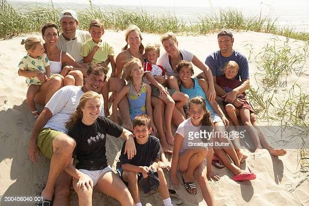 Group of people sitting on beach, smiling, portrait