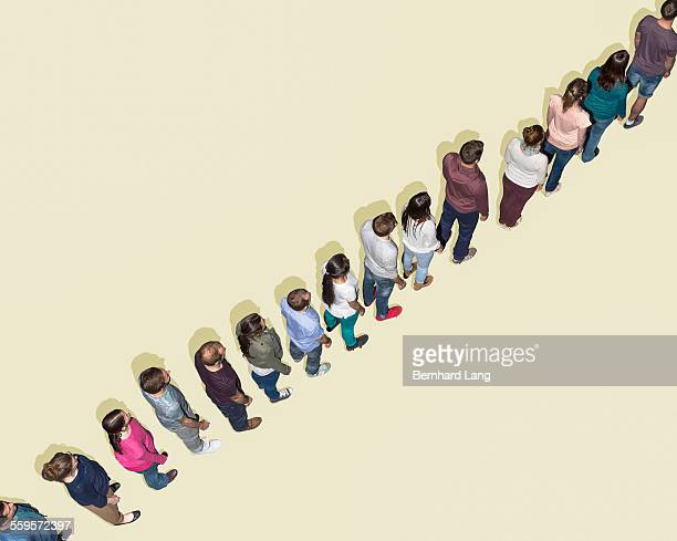 Group of people standing in a row, Aerial View