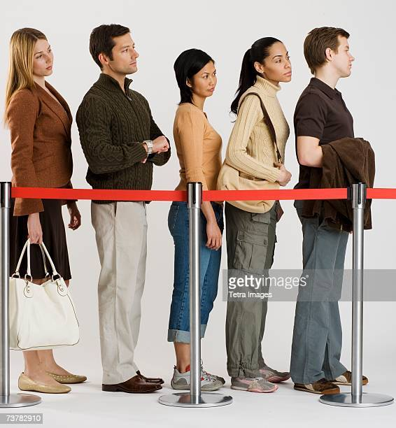 Group of people standing in line