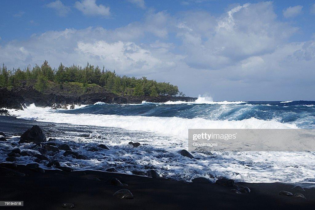Group of people swimming in the sea, Kehena Beach, Big Island, Hawaii Islands, USA : Stock Photo