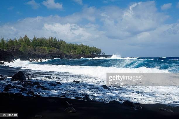 Group of people swimming in the sea, Kehena Beach, Big Island, Hawaii Islands, USA