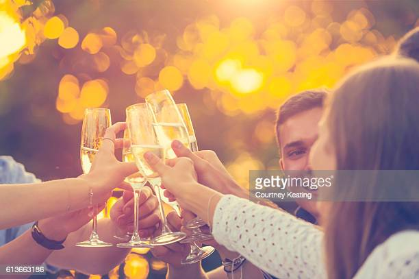 Group of people toasting with champagne