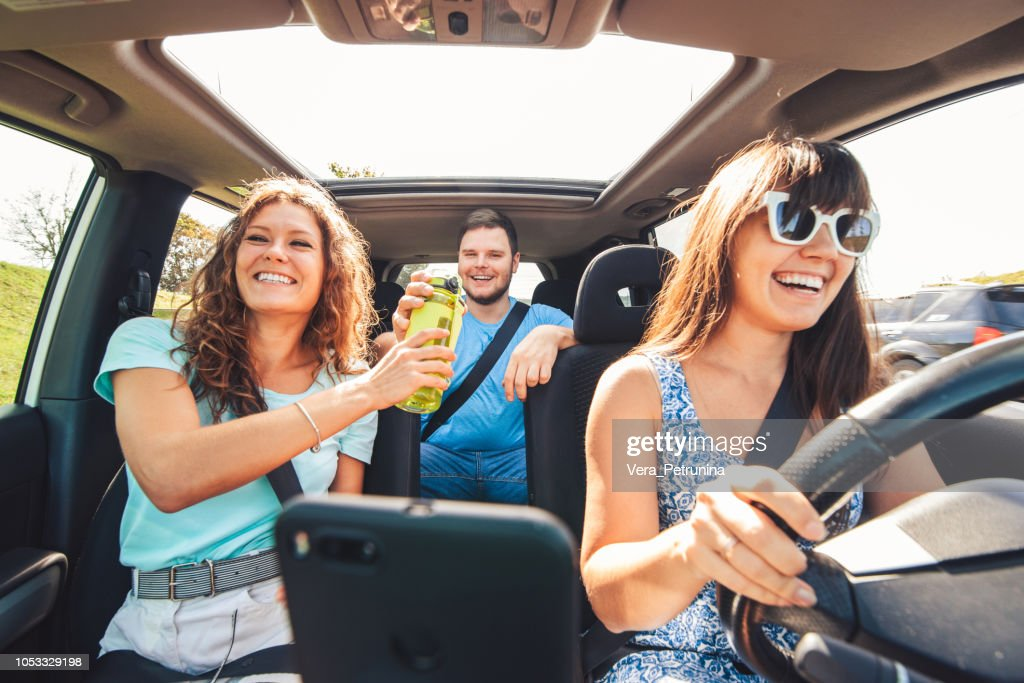 group of people travel by car. : Stock Photo