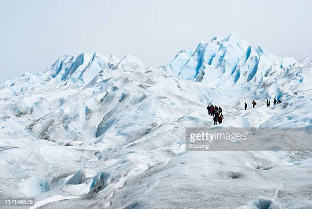 group of people trekking on the Perito Moreno Glacier (Patagonia-Argentina)