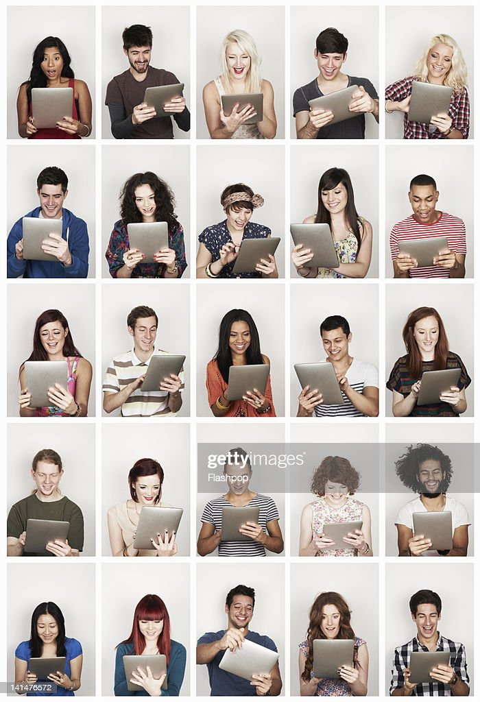 Group of people using a digital tablet : Stockfoto