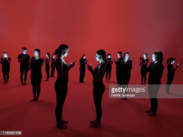 group of people using smartphones - generation z stock pictures, royalty-free photos & images