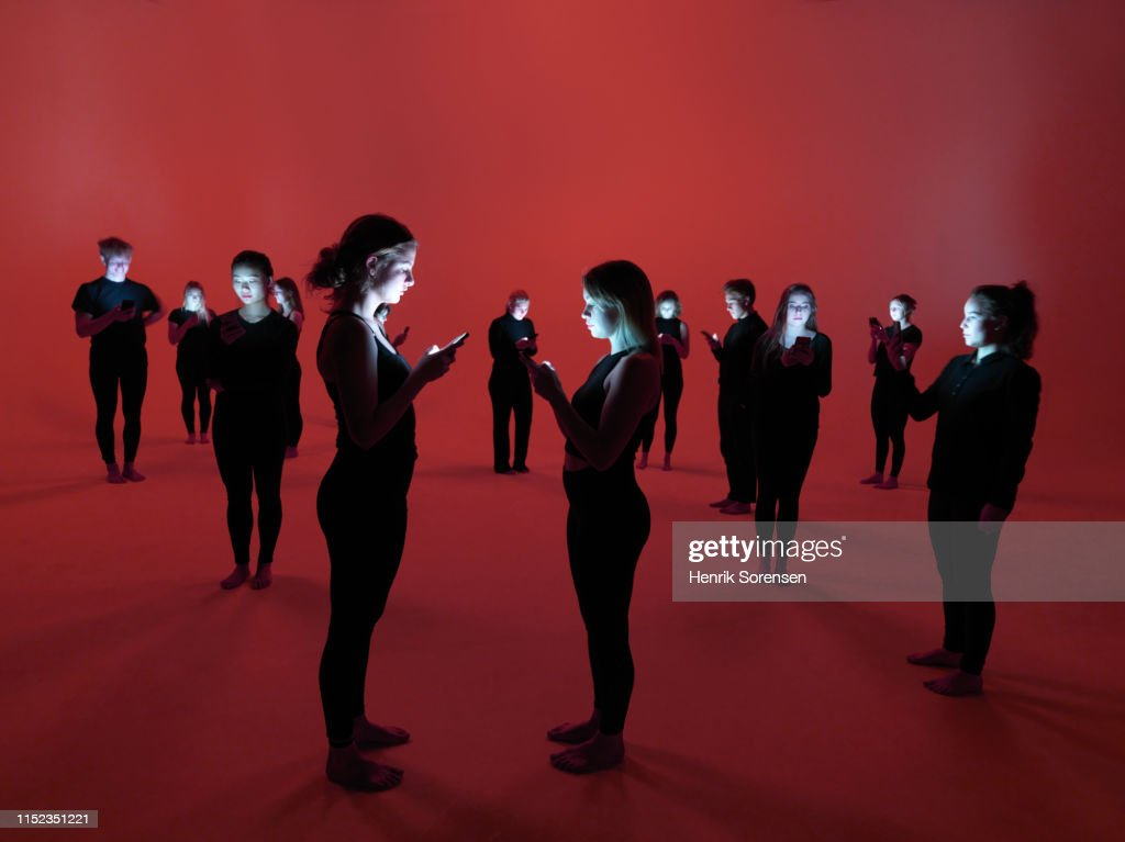 Group of people using smartphones : Stock Photo