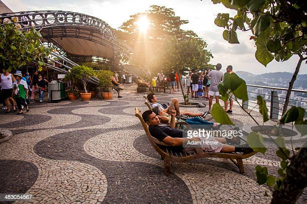 A group of people viewing the city of Rio.