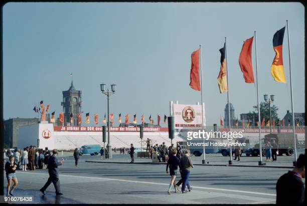 Group of People Visiting Marx Engles Platz before May Day Parade East Berlin German Democratic Republic 1961