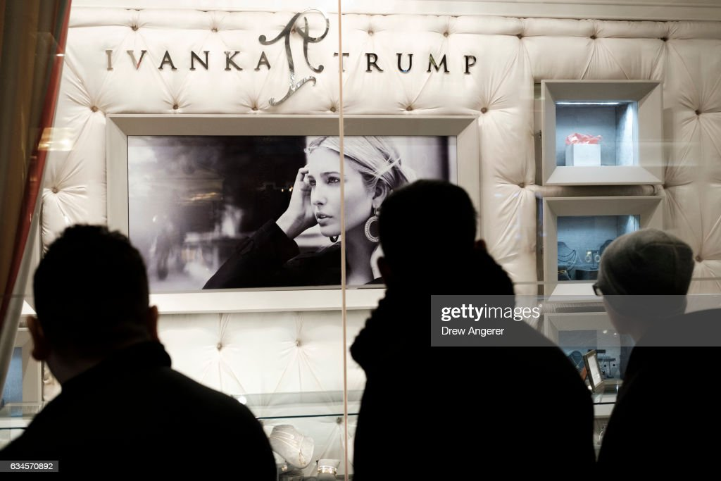 A group of people walk past the 'Ivanka Trump Collection' shop in the lobby at Trump Tower, February 10, 2017 in New York City. According to a market research firm Slice Intelligence, Ivanka Trump merchandise saw a 26 percent dip in sales in January 2017 compared to January 2016. Kellyanne Conway, a senior counselor to President Donald Trump, has been accused of ethics violations for promoting the Ivanka Trump fashion line during a television interview on Thursday.