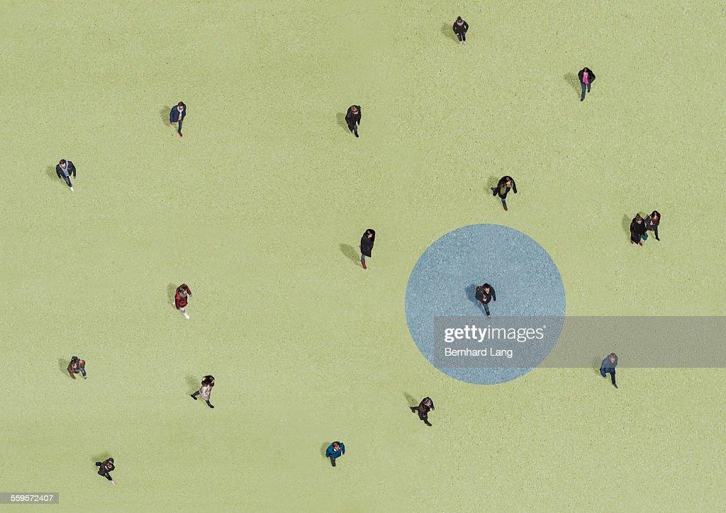 Group of people walking, Aerial Views : Stock Photo