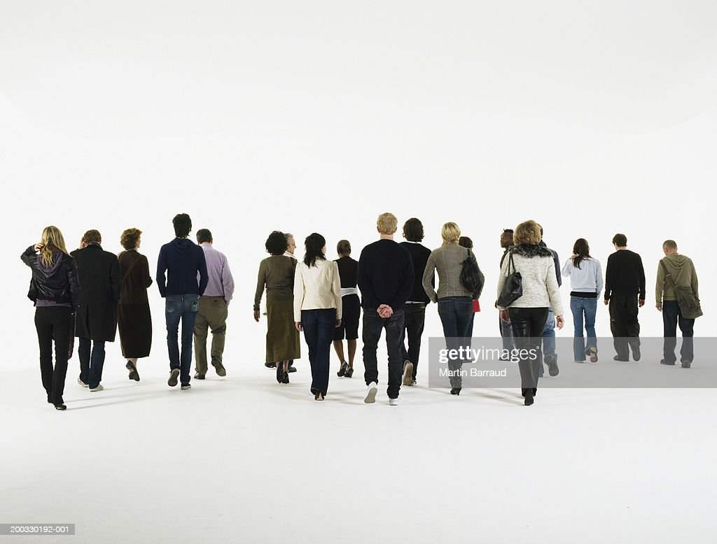 Group Of People Walking Rear View Stock Photo Getty Images