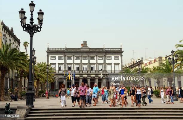 group of people walking through las palmas de gran canaria - las palmas cathedral stock photos and pictures