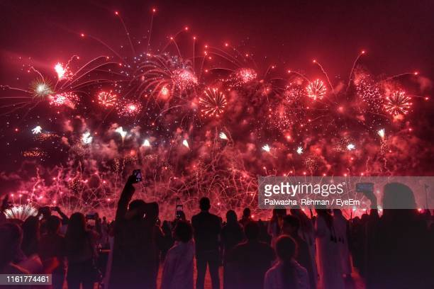 group of people watching firework display at night - qatar fotografías e imágenes de stock