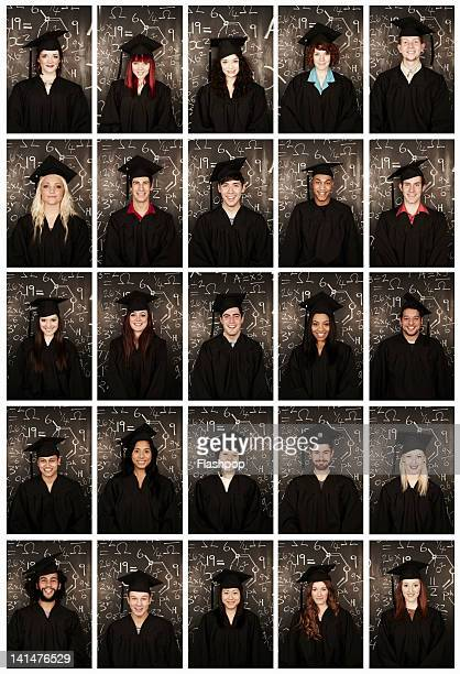 Group of people wearing graduation cap and gown