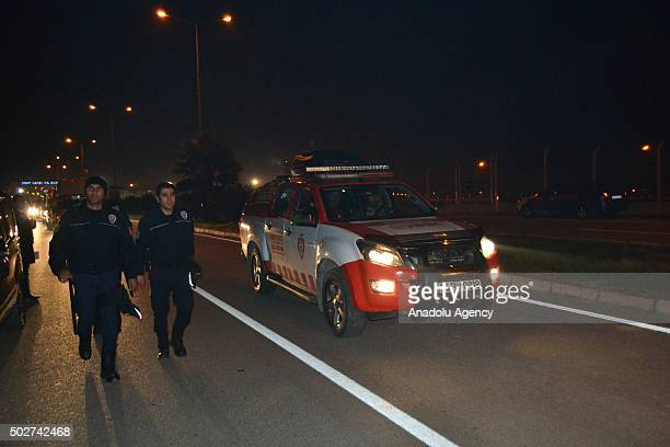 A group of people welcome wounded Syrian opponents as they arrive near Hatay Airport in Hatay Turkey on December 28 2015 In AlZabadani a rural area...