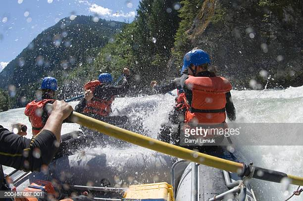 Group of people white water rafting, rear view