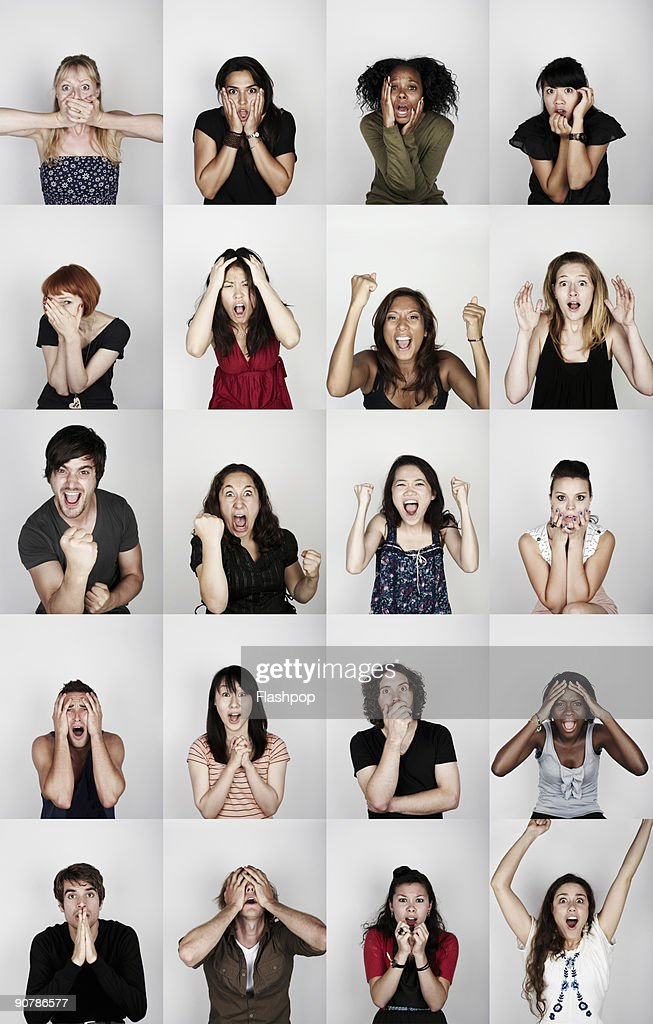 Group of people with different emotions : Stock Photo