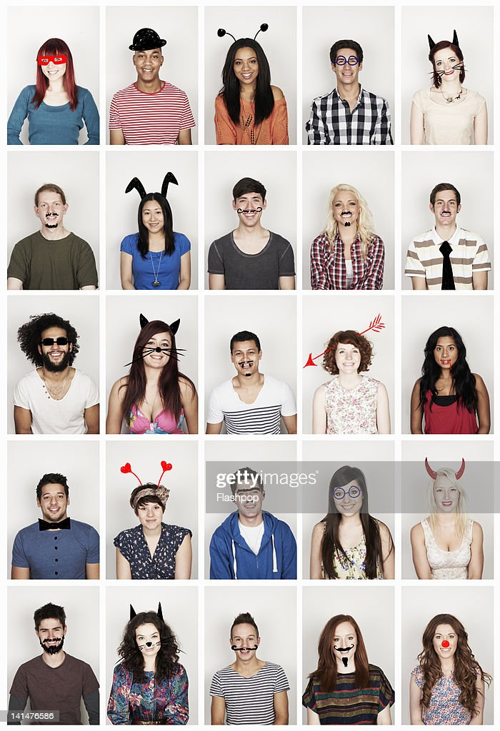 Group of people with funny faces : Stock Photo